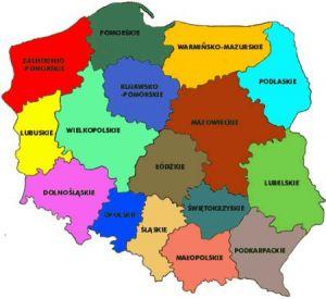 mapa polski województwa